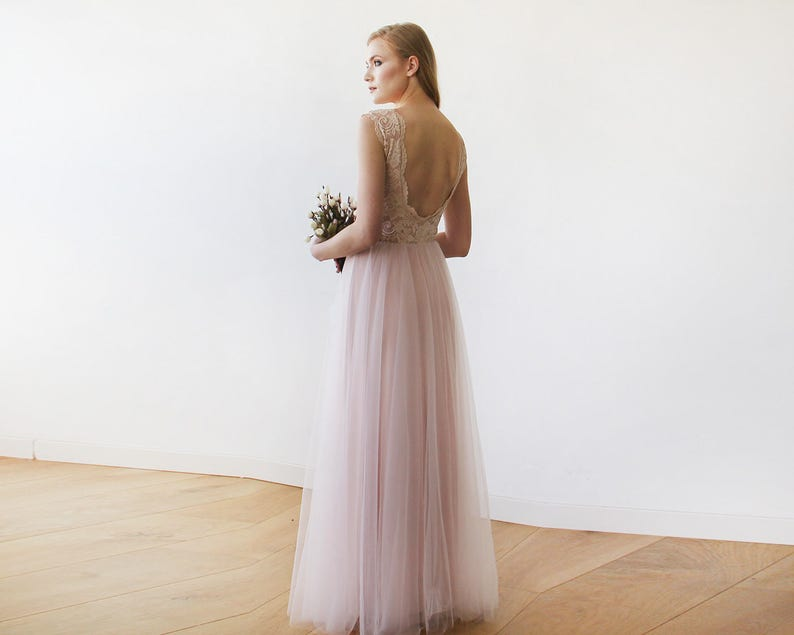 5322d56e8e Pink Blush Bridesmaid Dress with Tulle and Lace Sleeveless