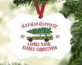 Personalized Family Christmas Ornament with your Family Name or Phrase - Hap Hap Happiest Family Christmas (XMAS-8)