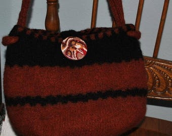 Copper and Black Wool Felted Purse