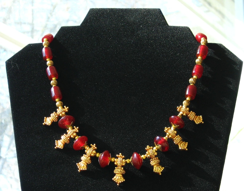 Ancient Roman /Greek / Byzantine Style Princess Necklace - Gold and Red