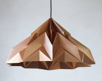 Origami lampshade etsy make a wish xl origami lampshade pendant satin copper aloadofball Image collections