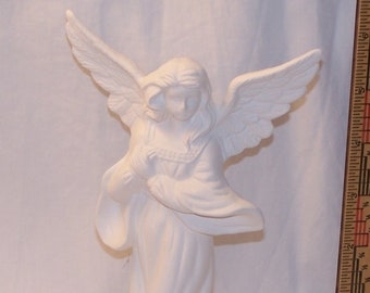 Ceramic Bisque Unglazed 7 inch Angel, Spread wings, 04 Bisque