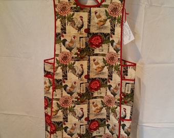 Chickens! Over-The-Head Red, brown, and Green Apron with pockets, L