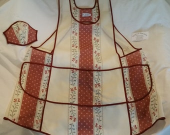 """Sheer Cotton Voile Over-The-Head Apron with pockets, """"L""""  (5'2"""" to 5'8"""" medium weight)"""