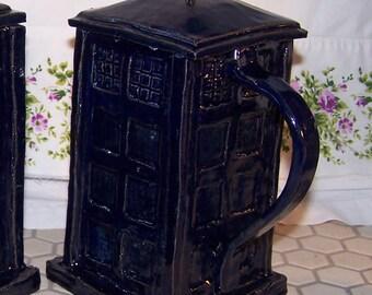 Large Dark Blue Ceramic mug, Unusual shape.