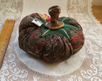 Autumn Paisley Pumpkin with gold and red accents by Shannon Brown