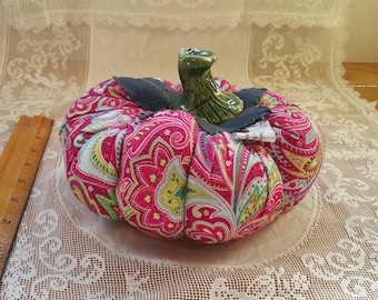 Pink Paisley Pumpkin with green accents by Shannon Brown