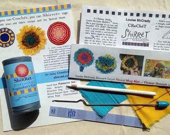 Shirret Tools + cord + basic instructions + pattern