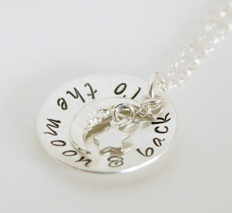 Personalized Name Necklace To the Moon /& Back Hand Stamped Sterling Silver Necklace
