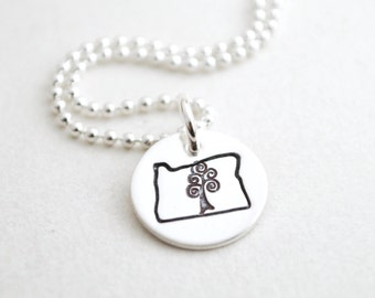 Oregon State Charm Necklace in Sterling Silver - Oregon Roots Necklace - Oregon Tree Necklace Hand Stamped in Sterling Silver