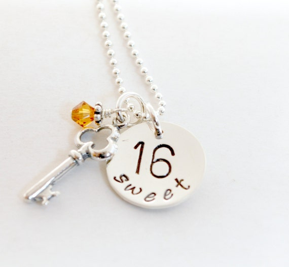 Items Similar To Sweet 16 Necklace With Key Charm Sweet