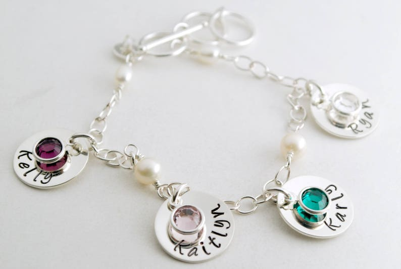 25d959b9fb792 Custom Name Bracelet Hand Stamped Sterling Silver Charm Bracelet with Names  and Birthstones for Mom of Four - Jewelry for Women