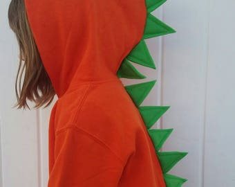 4t Orange and Green Dinosaur Hoodies dragon sweatshirt trendy kid clothes birthday outfit jacket coat monster gift idea