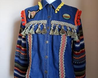 52fd8d7c551 Vintage Bohemian Boho Denim Jacket