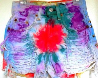 Tie Dye Studded Distressed High Waisted Marble Shorts CUSTOM