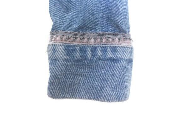 Vintage 90s DKNY Blue Denim Jacket w/ Dusty Pink … - image 5