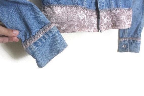 Vintage 90s DKNY Blue Denim Jacket w/ Dusty Pink … - image 3