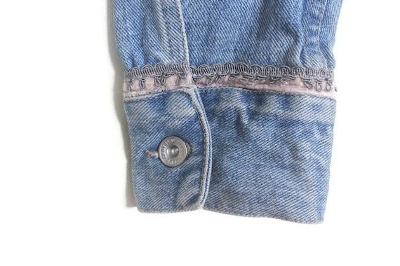 Vintage 90s DKNY Blue Denim Jacket w/ Dusty Pink … - image 6