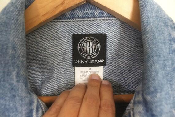 Vintage 90s DKNY Blue Denim Jacket w/ Dusty Pink … - image 7