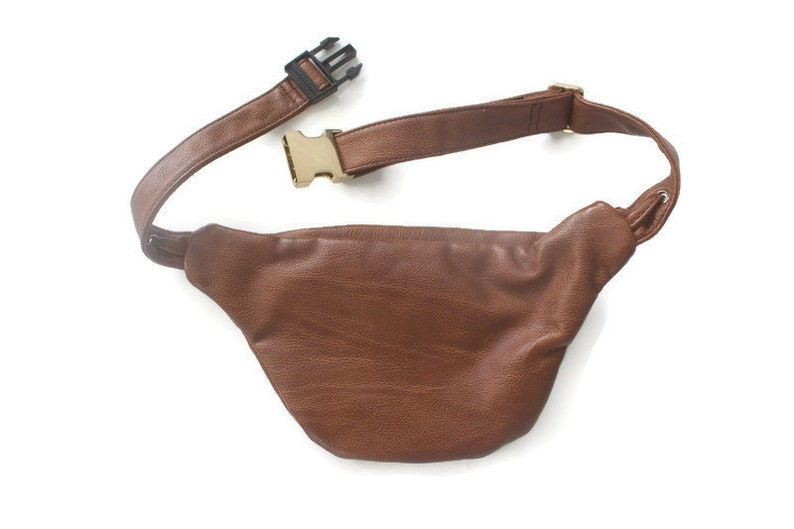 Vintage 90s Faux Brown Leather and Gold Animal Print Fanny Pack