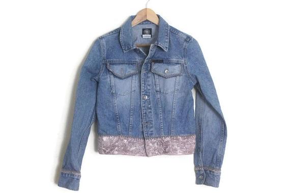 Vintage 90s DKNY Blue Denim Jacket w/ Dusty Pink … - image 1