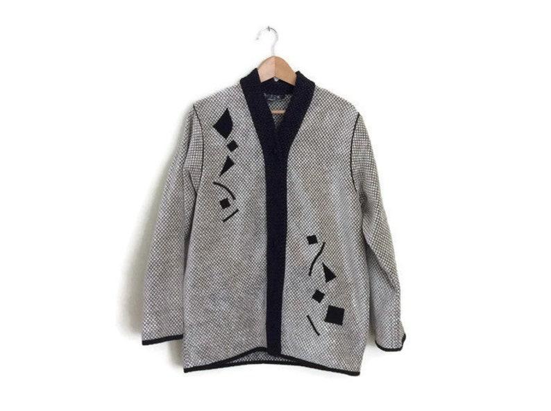 e61ed805 90s Geometric Black Patchwork Chenille Oversized Jacket | Etsy