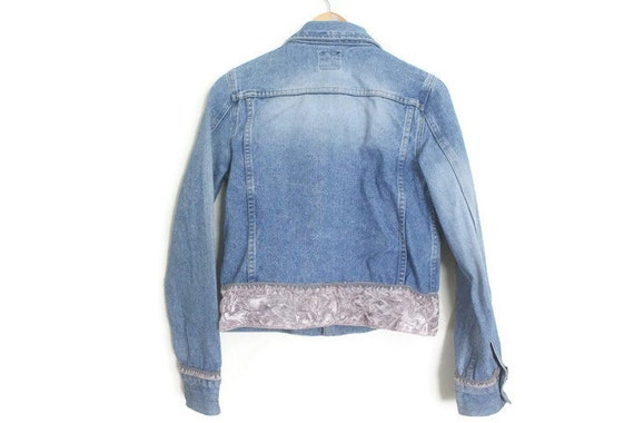 Vintage 90s DKNY Blue Denim Jacket w/ Dusty Pink … - image 4