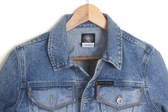 Vintage 90s DKNY Blue Denim Jacket w/ Dusty Pink … - image 2