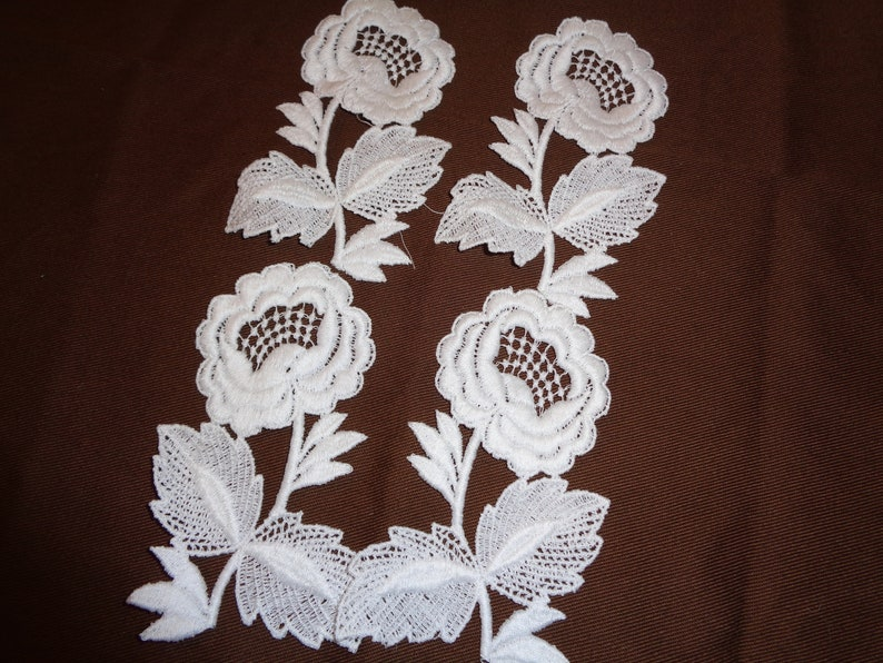 Group of 4 RoseFlower Lace AppliquesVintage 1970/'sSewing Supplies