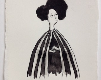 Striped Cape - Original Art in Ink and Watercolour. Drawing - Painting - Graphic - Illustration