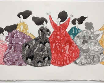 Story Dresses - Original Art in Ink and Watercolour. Drawing - Painting - Graphic - Illustration