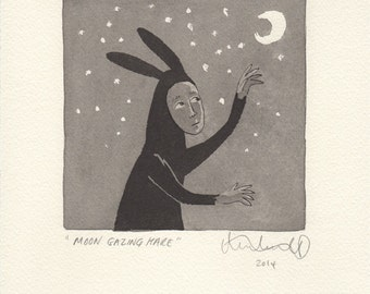 Moon Gazing Hare - Original Art in Ink and Watercolour. Drawing - Painting - Graphic - Illustration