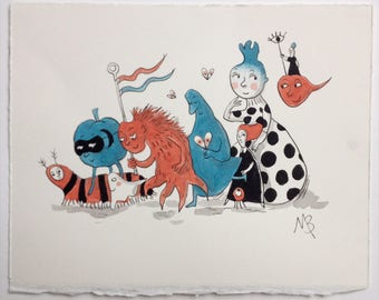 Night Parade - Original Art in Ink and Watercolour. Drawing - Painting - Graphic - Illustration