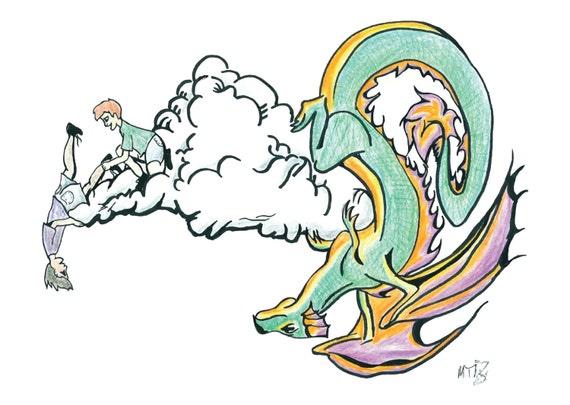 Peekaboo Dragon Print