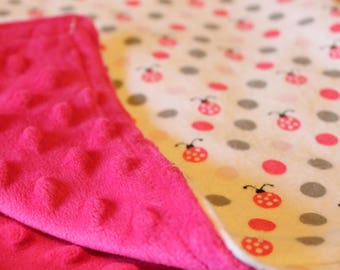 TWO COLORS to choose from! Infant or baby Minky Blanket with polka dot and ladybug pattern. Super soft flannel front.
