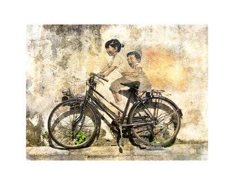 Malaysia Street Art, Kids on Bike, Bicycle Art, Travel Photography, Monochrome, Warm Tones