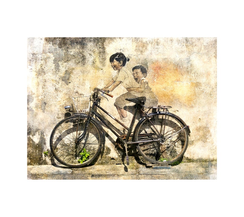 Malaysia Street Art Kids on Bike Bicycle Art Travel image 0