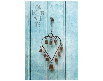 You Belong with Me, Sky Blue Door Photo, Rusted Heart, Wedding Gift, Inspirational Print, Anniversary Gift, Valentine's Day