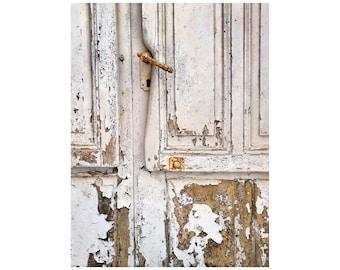 White Door Photo, Rustic Decor, South of France, Calm Colors, Peeling Paint