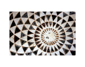Geometry Photo, Mosaic Marble Floor, Geometric Patterns, Ancient Baptistery, Florence Italy, Black and White