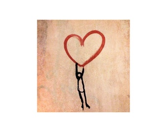 Red Heart Anniversary Gift, Street Art Photo, Sweetheart, I Love You, Valentine's Day, Young Love
