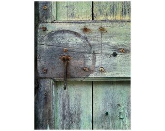 Wabi Sabi Circle, Geometry Photo, South of France, Green Window Shutter, Rustic Decor