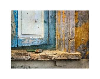 Malaysia Photograph, Dilapidated Window, Wabi Sabi, Yellow, Blue, Texture