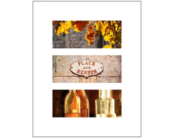 Glowing Grapes Photo Triplet, Gift for Cook, Wine, Market Sign, South of France, Home Bar Decor, Restaurant Art, Grape Leaves