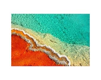 Aqua Hot Pool Photo, Yellowstone, Nature Photography, Turquoise Red, Vermilion Aqua, National Park