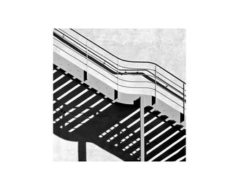 Black and White Photo, Stairs, Light and Shadow, Bold Abstract Art, Modern Decor