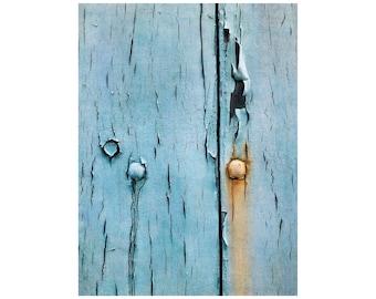 Aqua Wabi Sabi, Peeling Paint Photo, South of France, Turquoise, Orange, Rustic Decor