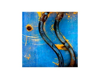 Vivid Blue Photo, Old Truck, Junkyard Art, Blue, Gold, Curves, Scrap Yard, Vibrant Color