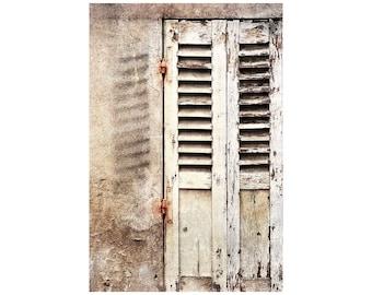 Paris Shutters Photo, Monochrome, Urban Shabby Chic, Travel Photography, French Cream