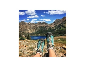Hiking Photograph, Alpine Lake, Mountains, Rocks, Nature Photography, Sapphire Blue